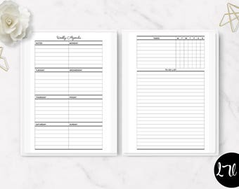 Printable Horizontal Week on one Page Insert – WO1PHV4 - ITEM#189 – Mini Happy Planer, Classic Happy Planner, Big Happy Planner -  3 Sizes