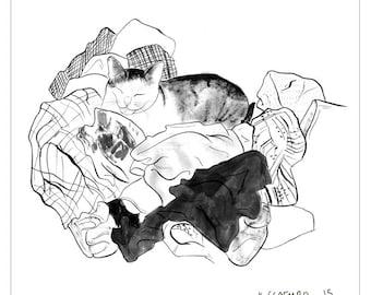 Tiny Cat Laundry Print