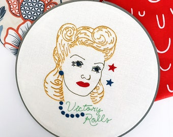 Victory Rolls | Retro Art | Home Decor | Hairdresser Gift | Salon Decor | Vintage Inspired | Gift for Her | Cloth and Twig