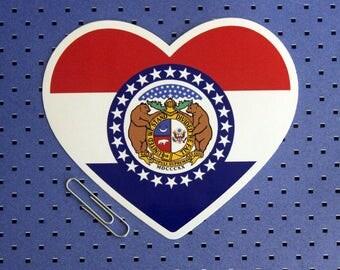 Missouri State Flag Heart Sticker