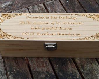 Personalised wine bottle box, champagne box, bottle box, wine box for wedding, wooden wine box, presentation  box, personalized champagne