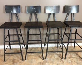 Reclaimed Urban  Bar Stools Set Of (5) with Steel Backs -Modern Salvaged Barn wood Fast Shipping