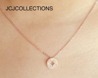 Tiny Rose Gold Circle Compass Necklace