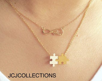 Gold and Silver Puzzle Necklace / Dainty / Simple / Cute