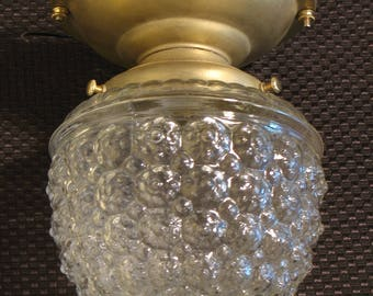 """Antique Lighting: Brass circa 1920s - 1930s porch light with pressed """"raspberry""""shade - two currently available"""