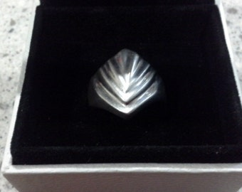 Vintage Geometric Modernist Taxco Mexico Sterling Silver 925 Signet Ring US Size 5.5 TF-55