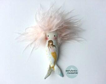 Baby Mermaid, rag doll, art doll, doll miniature, plush, model name: Mia hair beads