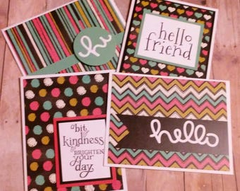 4 Handmade Greeting Cards, Made using Chalkboard Paper
