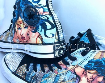 SALE Wonder Woman Bling Converse, Superhero Glitter Kicks LIMITED EDITION, Custom Hand Jeweled w/ Genuine Swarovski Crystals - Bling Chucks