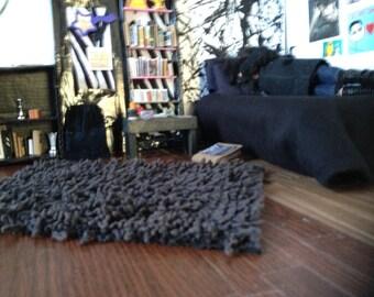 Barbie black shag rug