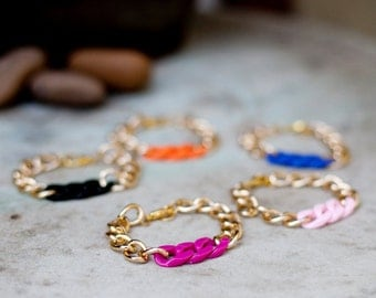 Multi-colored chunky charm bracelet