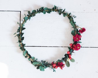 REAL Dried Eucalyptus and Deep Red Garden Crown