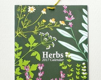 2017 Calendar, Herb Calendar, Botanical Calendar, Herb illustrations, hand drawn calendar, large calendar, 11x17 calendar