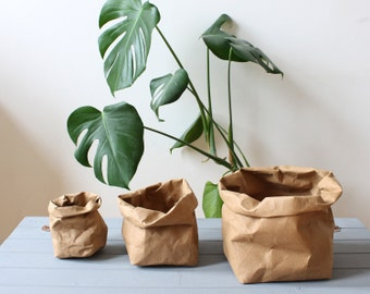 Brown Kraft Paper bag, washable paper storage bag, basket, bin, planter, hamper, pot, natural, rustic, Earthfriendly, Eco, Earth tones