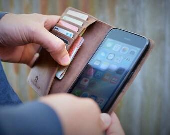 Handmade iPhone 6 PLUS Case Genuine Rustic Real Leather Dark Brown by Ebb & Flow