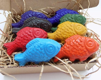 CRAYONS ECO Friendly Natural Kids Handmade Fish Soy Coloring Crayons, Gift for Kids, Kids Gift, Natural Toy, Party Favor, Birthday