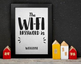 Affiche À IMPRIMER - Poster imprimable - Poster Wifi mot de passe - décoration salon entrée - Téléchargement instantané Art mural Décoration