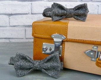 Father and Son Bow Tie Set - Black/Grey Tweed