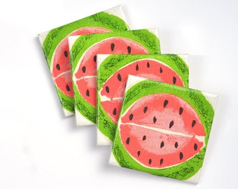 Watermelon Ceramic Coasters Fruit Summer Tile Drink Coasters