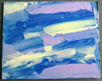 """Abstract Painting - Untitled (Blue, Violet, Yellow No 1) 10"""" x 8"""""""