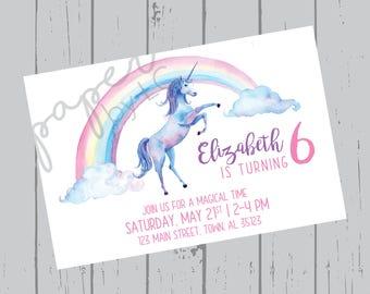 Birthday Day Unicorn Customized Printable Invitation