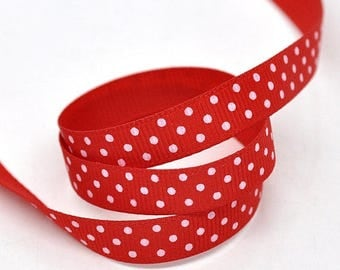 "5/8"" Red & White Polka Dot Grosgrain Ribbon - 25 Yard Roll"