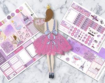 MINI Weekly Kit / Romance In Paris / Planner Stickers /  Fits Erin Condren Vertical & MAMBI  / Watercolor / Glitter / Hand Drawn