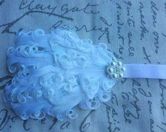White Feather Headband Rhinestone & Pearl Wedding/Pageant/Photo Prop
