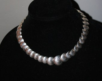Vintage Navajo Sterling Silver 925 Stamped Pillow Concho Necklace