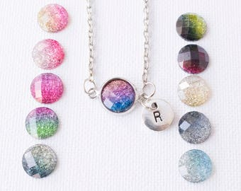 Silver glitter necklace, silver glitter pendant, custom necklace, colourful resin necklace, initial jewellery, custom jewelry,