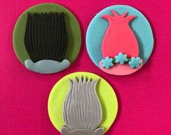12 Trolls Inspired Cupcake Toppers-Fondant