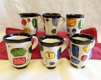 Set of Six Abstract Geometric Shaped Espresso Pottery Mugs Signed