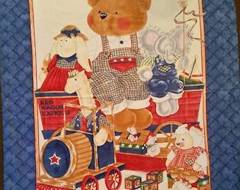 Handmade baby boy blanket Teddy bear and friends