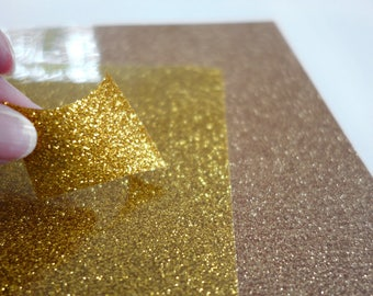 2 sheets of glitter glamour HTV with real glitter particles for extra ordinary effects, gold and yellow,  8 1/4'x11 1/2'