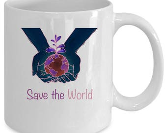 World white coffee mug. Funny World gift