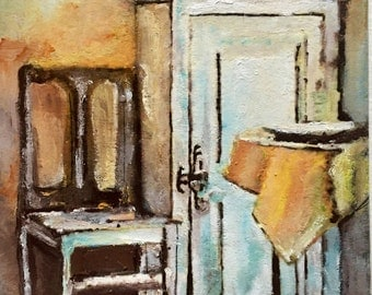 """Room still life original oil painting 8""""x10"""". Give Art as a gift."""