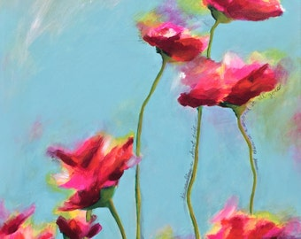 Bright Acrylic poppy painting (22 x 36)