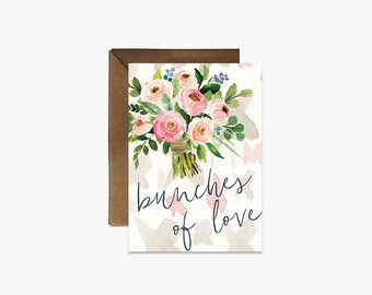 Bunches of love Card + Kraft Envelopes --- G006