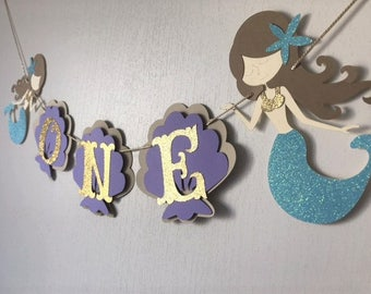 Under the Sea Mermaid I AM ONE Highchair Banner, Purple and Teal Mermaid Banner, First Birthday Highchair Banner, Age Banner