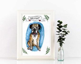 Watercolor pet portrait, pet illustration, watercolor original art, 5x8 original, art from photo, pet memorial
