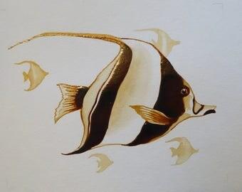Angel fish coffee art
