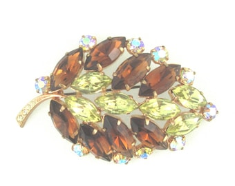 Brown Leaf Brooch