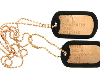 Custom Embossed Personalized Copper Military Army Air Force Navy USMC ID Dog Tags