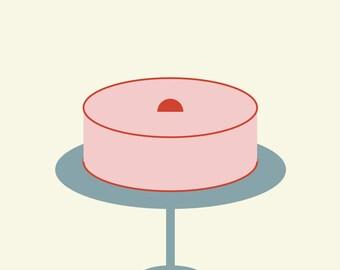 "Wall Art Print, ""Sunday Cake"" Print, Cake Art, Cake Print, Modern Wall Art, Pastel Print, Vintage Print"