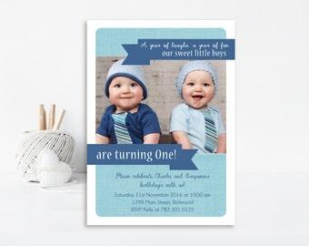 Twins Birthday Invitation, Twin Boys Birthday Invitation, Printable Invitation, Birthday Invitation, Royal Blue & Teal Twin Invitation