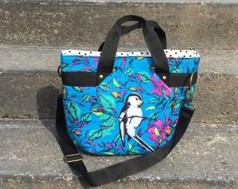 Bird Lover's Fiesta Tote; Purse Handles and Adjustable Cross Body Strap