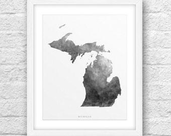 Michigan Map, Michigan Print, Michigan Art, Michigan State, Michigan Minimal Design, Minimalist Art, Michigan Printable,Instant Download