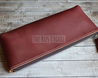 FREE SHIPPING - Distressed Genuine Leather Makeup Bag - Burgundy Rugged Leather Clutch -  Leather Pouch