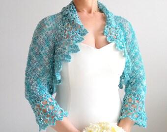 Crochet bolero shrug, aqua blue bolero, bridal jacket, wedding cardigan, turquoise bolero, lacy shrug, 3/4 sleeves bolero, fast shipping