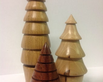 Three hand turned wooden Christmas trees